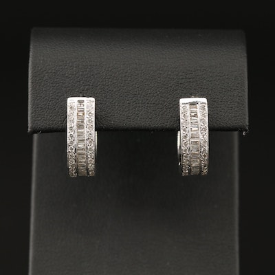 14K Diamond Hinged Hoop Earrings