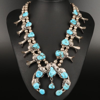 Wayne Etsitty Navajo Diné Sterling Turquoise Squash Blossom Necklace with Naja