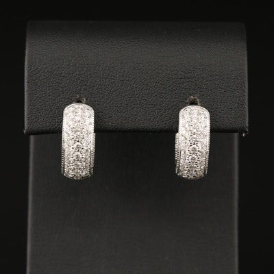14K 1.80 CTW Diamond Inside-Out Hinged Hoop Earrings