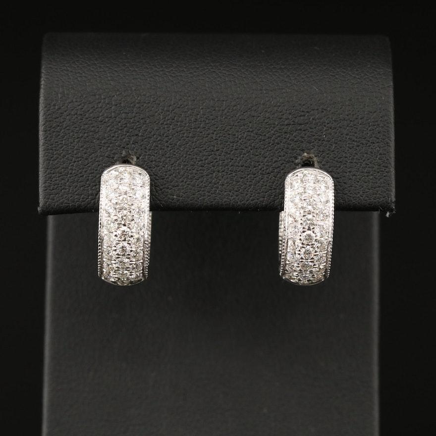 14K 1.80 CTW Diamond Inside-Out Hinged Hoop Earrings