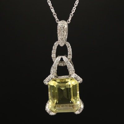 Sterling Citrine and Cubic Zirconia Pendant Necklace
