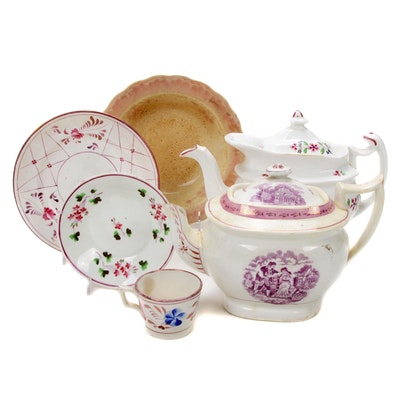 Leeds and Adams Hand-Painted Pearlware Including Lusterware, Early-Mid 19th C.