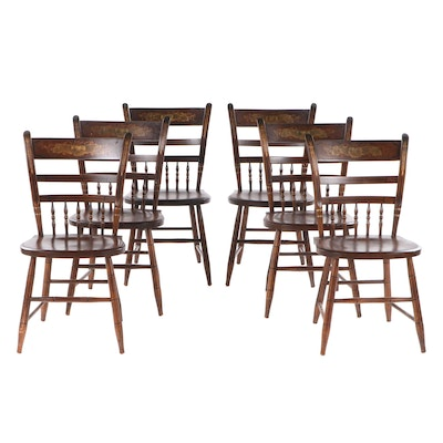 """Six L. Hitchcock Federal Style Gilt-Stenciled """"Fancy"""" Side Chairs"""