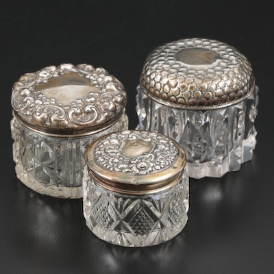 American and British Cut Glass Cosmetic Containers with Sterling Silver Lids