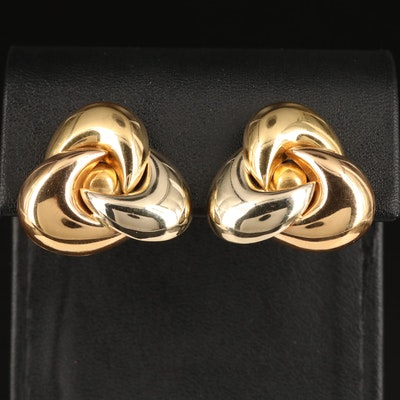 18K Tri-Color Knot Style Clip Earrings