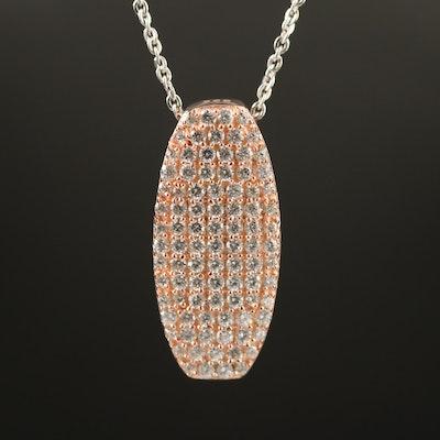 Sterling Pavé Cubic Zirconia Bar Pendant Necklace
