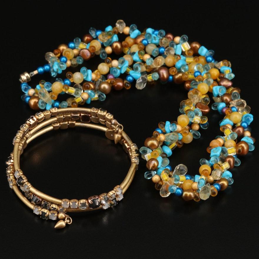 Stella & Dot Station Wrap Bracelet with Beaded Necklace