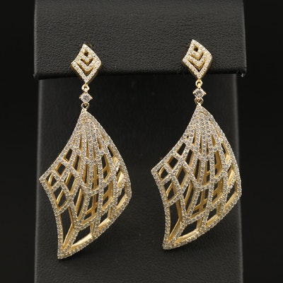 Sterling Silver Cubic Zirconia Openwork Earrings