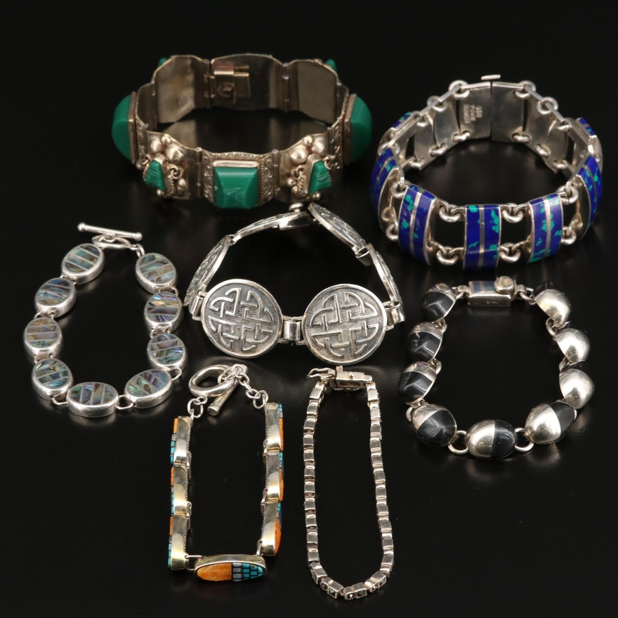 Assorted Sterling and Silver Bracelets Featuring Spiny Oyster, Abalone and Glass