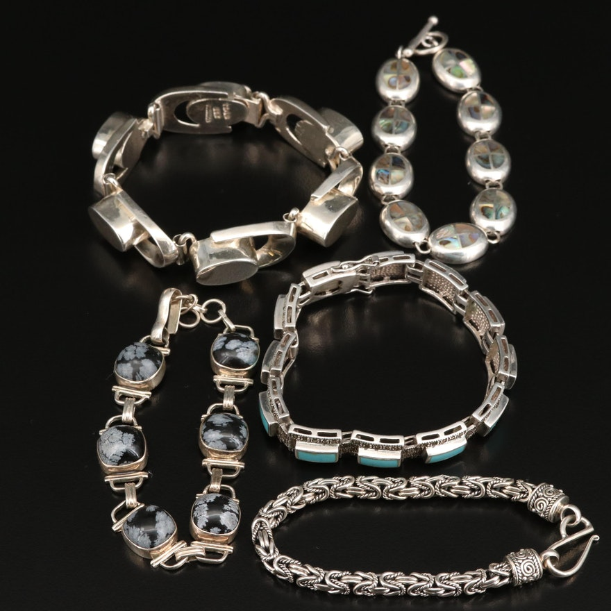 Assorted Sterling Silver Bracelets Featuring Snowflake Obsidian and Abalone