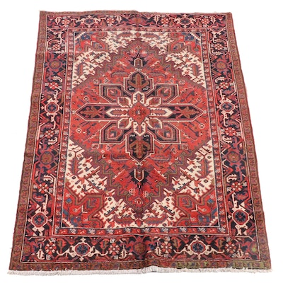 6'0 x 9'2 Hand-Knotted Persian Heriz Wool Rug