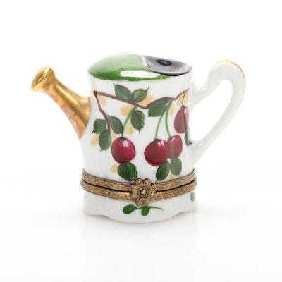 La Gloriette Hand-Painted Porcelain Watering Can Limoges Box