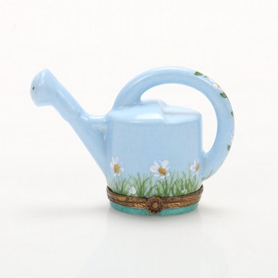 La Gloriette Hand-Painted Porcelain Watering Can Limoges Box