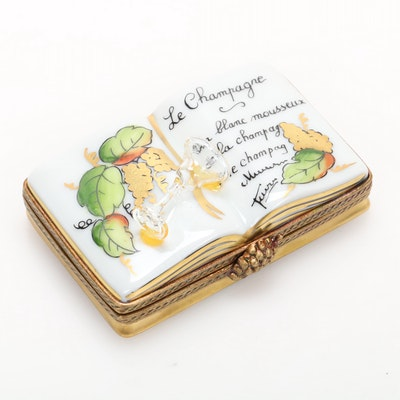 La Gloriette Hand-Painted Porcelain Champagne Book Limoges Box