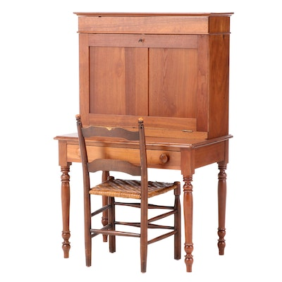 American Sheraton Walnut Plantation Desk and Chair with Splint Wood Woven Seat