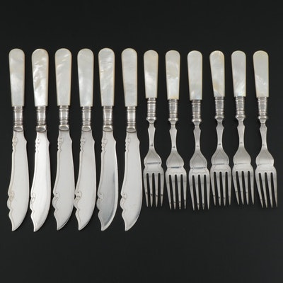 English Mother-of-Pearl Handled and Silver Plate Fish Set, 20th Century