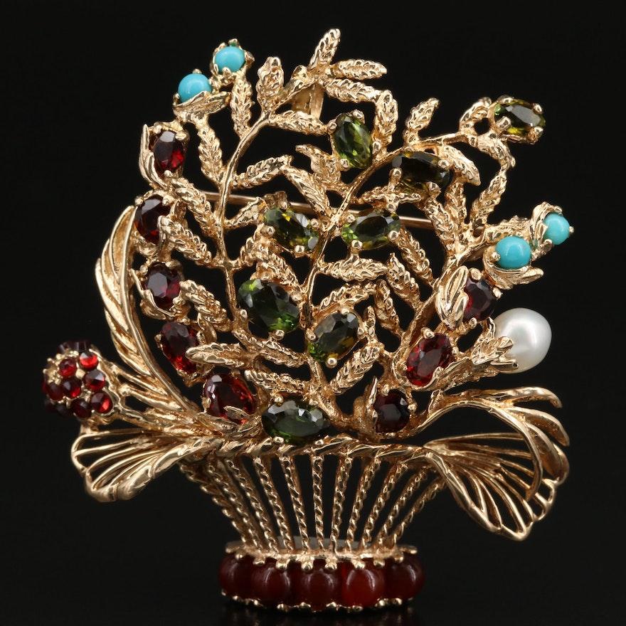 Circa 1950s Lucien Piccard 14K Mixed Gem Floral Bouquet Converter Brooch
