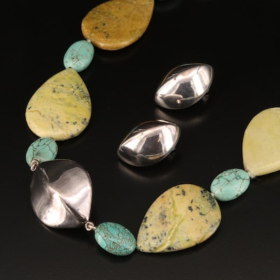 Sterling Silver Jasper and Marcasite Necklace with Sterling Earrings
