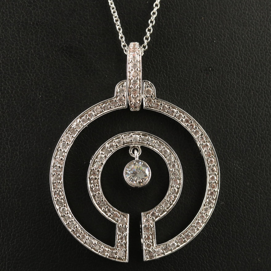 Sterling Silver Cubic Zirconia Geometric Pendant Necklace
