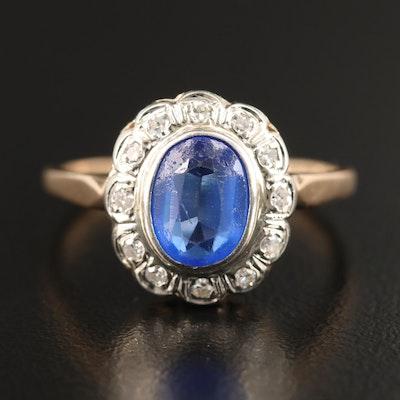Vintage 14K Garnet Glass Doublet and Diamond Halo Ring
