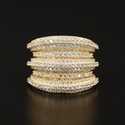 Sterling Silver Cubic Zirconia Multi-Row Tapered Band