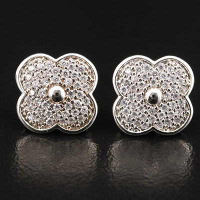Sterling Cubic Zirconia Floral Stud Earrings