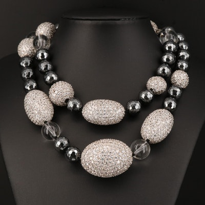 Matthew Campbell Laurenza Sterling Necklace with Hematite, White Topaz, Glass