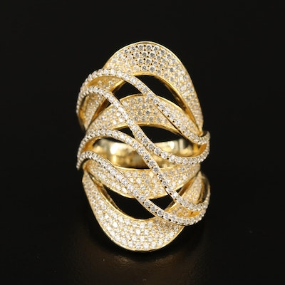 Sterling Silver Cubic Zirconia Openwork Ring with Wave Design