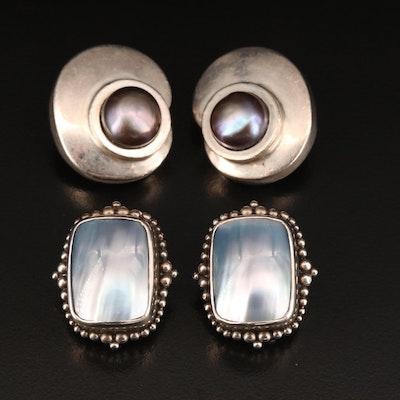 Sterling Pearl Earrings and Stephen Dweck Mother of Pearl Earrings