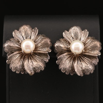 Stephen Dweck Pearl Floral Clip-On Earrings