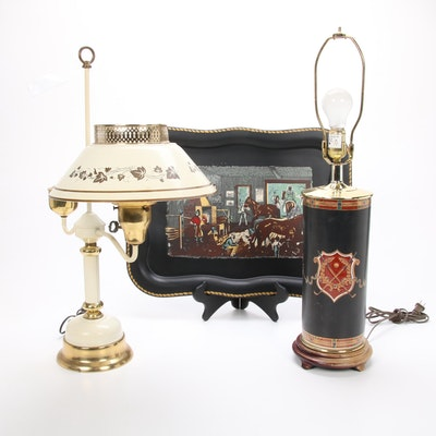 Brass Finish Table Lamps and Pictorial Metal Tray