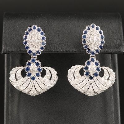 14K 2.40 CTW Diamond and Sapphire Dangle Earrings