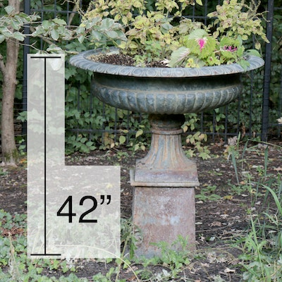 Neoclassical Style Cast Iron Outdoor Pedestal Planter