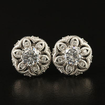 Sterling Silver Cubic Zirconia Flower Motif Stud Earrings