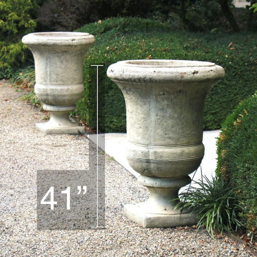 Pair of Large Scale Concrete Outdoor Pedestal Planters