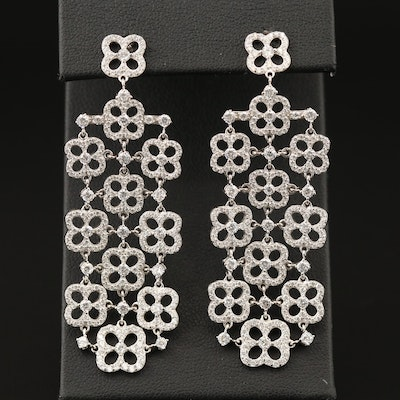 Sterling Silver Cubic Zirconia Quatrefoil Earrings