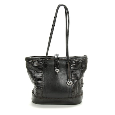 Brighton Braided and Woven Croc-Embossed and Pebbled Leather Handbag in Black