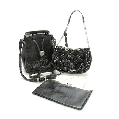 Brighton and Etra Embossed Black Leather Handbags