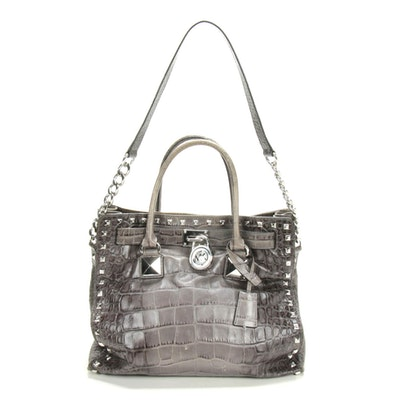 Michael Kors Pyramid Studded Croc-Embossed Leather Two-Way Tote