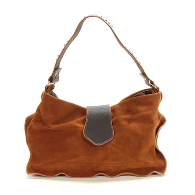 Tylie Malibu Suede and Grained Leather Hobo Bag with Embellished Strap