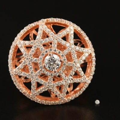 Sterling Silver Cubic Zirconia Ring Featuring Openwork Star Design