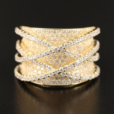 Sterling Silver Cubic Zirconia Double Criss Cross Ring