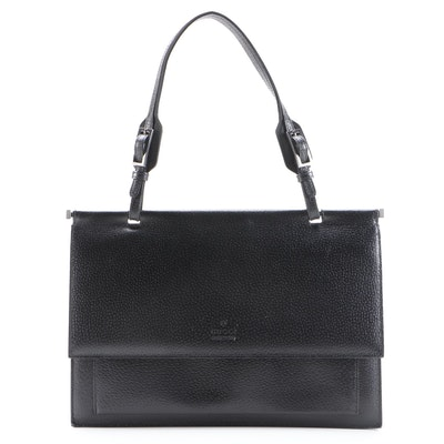 Gucci Black Leather Top Handle Flap Front Bag