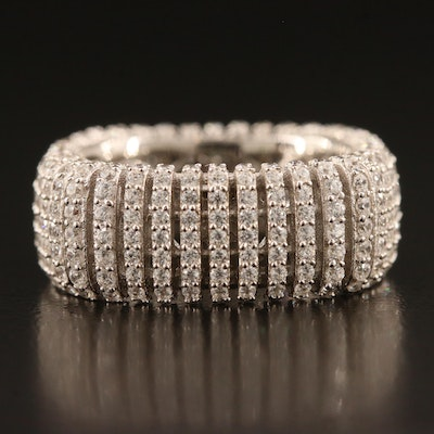 Sterling Silver Cubic Zirconia Square Eternity Band