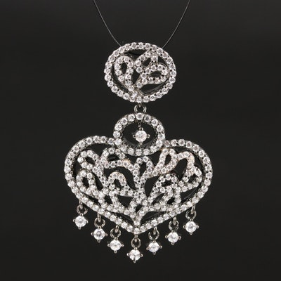 Sterling Cubic Zirconia Pendant with Heart Motif