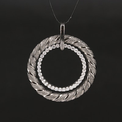 Sterling Cubic Zirconia Double Circle Pendant