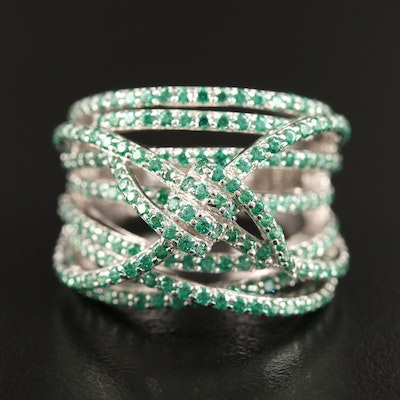 Sterling Silver Cubic Zirconia Knotted Crossover Ring