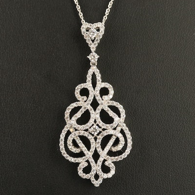 Sterling Silver Cubic Zirconia Scroll Pattern Pendant Necklace