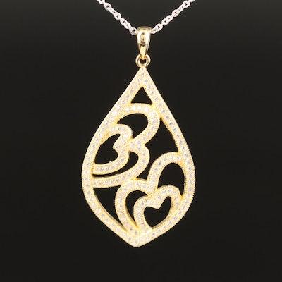 Sterling Cubic Zirconia Openwork Pendant Necklace