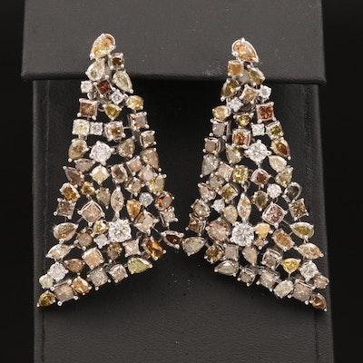 14K 18.17 CTW Diamond Earrings with Fancy Brown and Yellow Diamonds